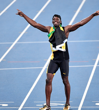 Usain Bolt became the first man to win the men's individual 100m and 200m titles at three straight Olympics.